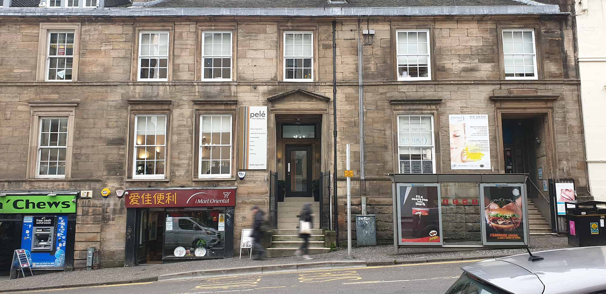Wide angle shot of the exterior of Pele Hairdressing in Glasgow